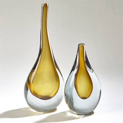 Stretched Neck Vases-Amber