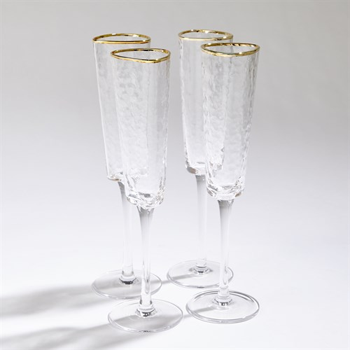 S/4 Hammered Champagne Glasses-Clear W/Gold Rim