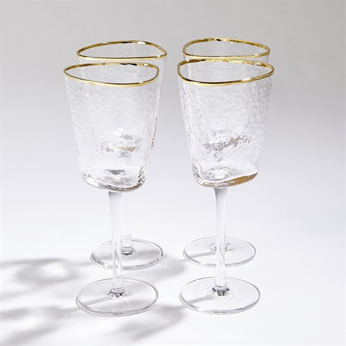 S/4 Hammered Footed Wine Glasses-Clear W/Gold Rim