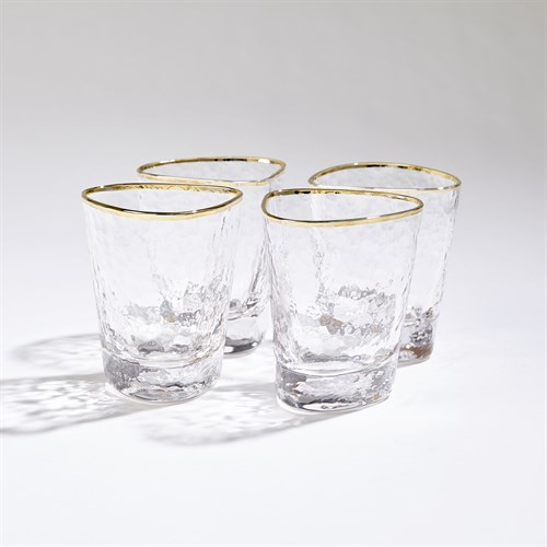 S/4 Hammered Water Glasses-Clear W/Gold Rim