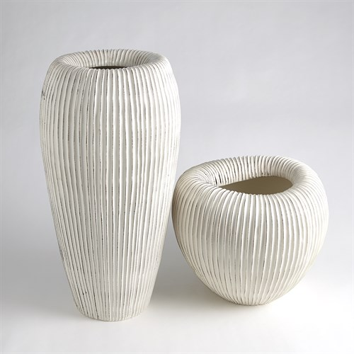 Baleen Vases-Ivory w/Brown Edges