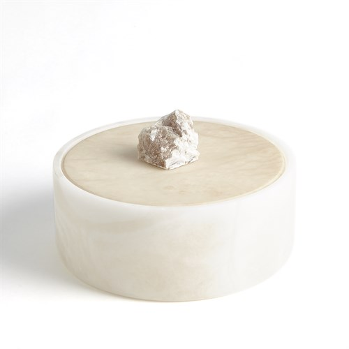 Alabaster Round Box w/Rock Finial