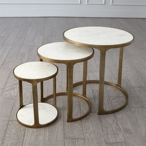 S/3 Marble Top Nesting Tables-Brass