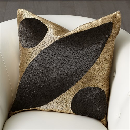 Seed Beaded Pillow-Gold/Black