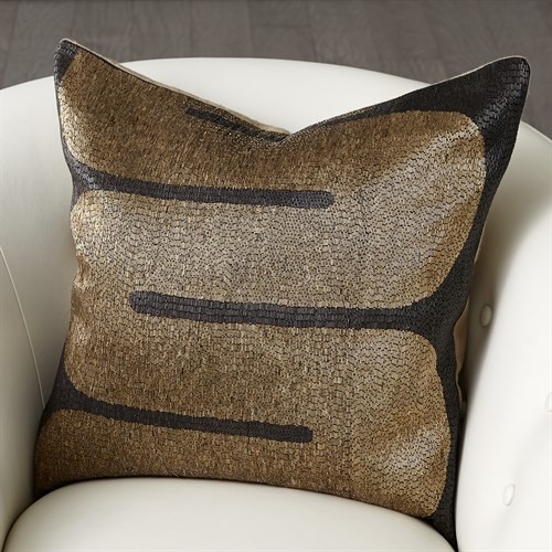 River Beaded Pillow-Black/Gold