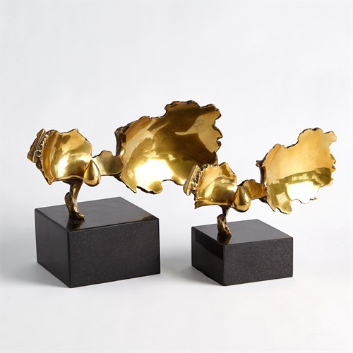 Burst Sculptures-Brass w/Black Granite
