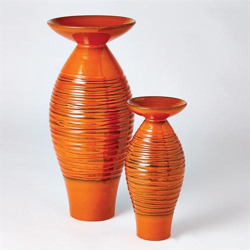 Ripple Flare Top Melon Vase-Orange