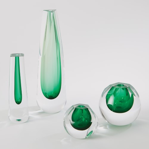 Triangle Cut Glass Vase-Emerald