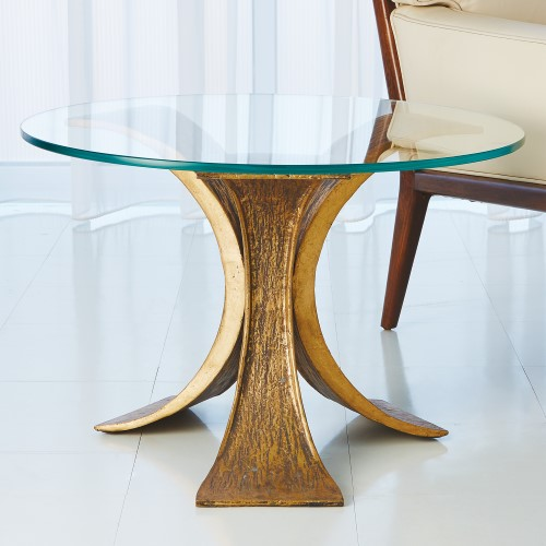 Lotus End Table-Antique Gold