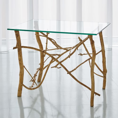 Twig End Table-Gold Leaf