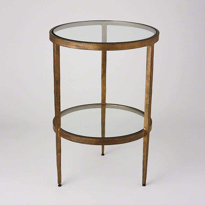 Laforge Two Tiered Side Table-Antique Gold