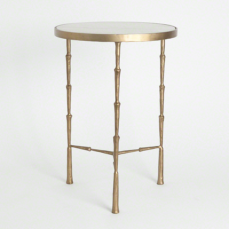 Spike Accent Table with White Marble