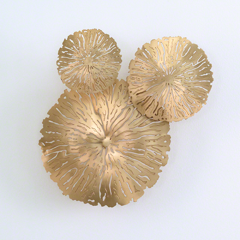 S/3 Lily Pad Clusters-Antique Brass