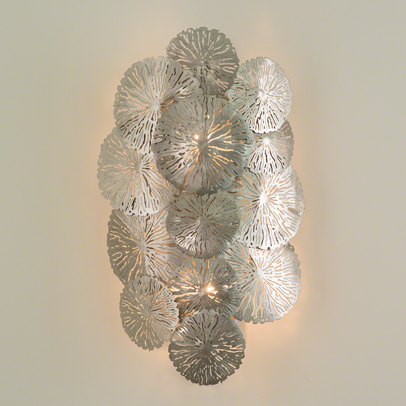 Lily Pad Wall Sconce-Antique Nickel-Hardwired