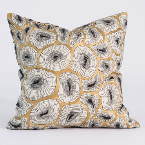 Agate Pillow-Black & Gold