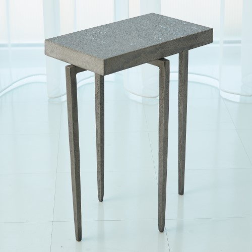 Laforge Accent Table-Natural Iron w/Flamed Granite