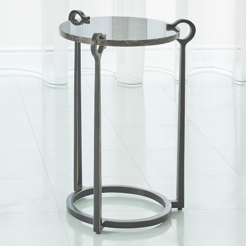 Round Clamp Accent Table-Bronze w/Brown Marble