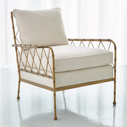 Bamboo Lounge Chair-Antique Gold-Avada Ivory