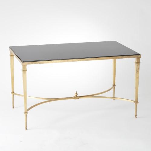 French Square Leg Cocktail Table-Brass & Black Granite