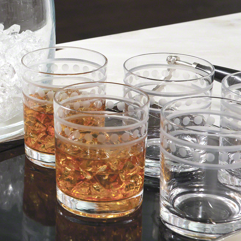 S/6 Double Old Fashion 2 Band Drinking Glasses