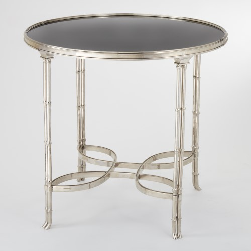 Double Bamboo Leg Table-Nickel & Black Granite