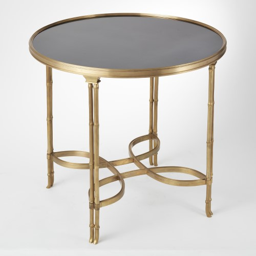Double Bamboo Leg Table-Brass & Black Granite