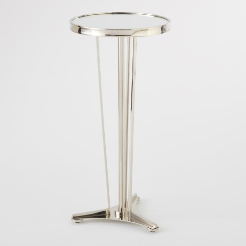 French Modern Side Table-Nickel w/Mirror Top