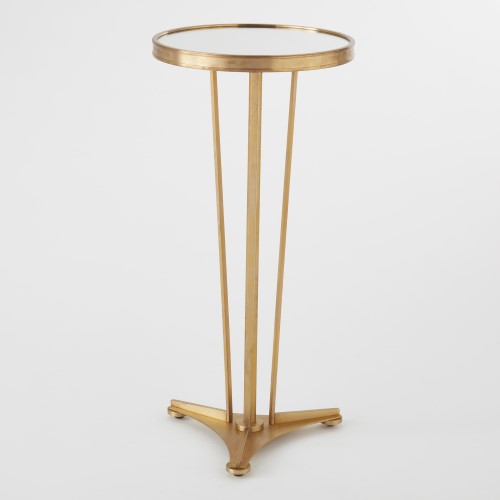 French Modern Side Table-Antique Brass w/Mirror T