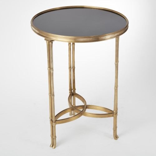 Double Bamboo Leg Accent Table-Brass w/Black Granite