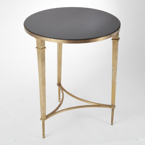 Round French Square Leg Table-Brass w/Black Granit