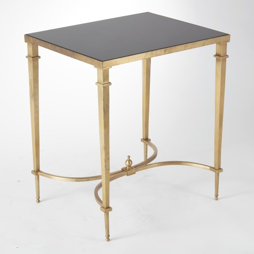 Rectangular French Square Leg Table-Brass & Black Granite