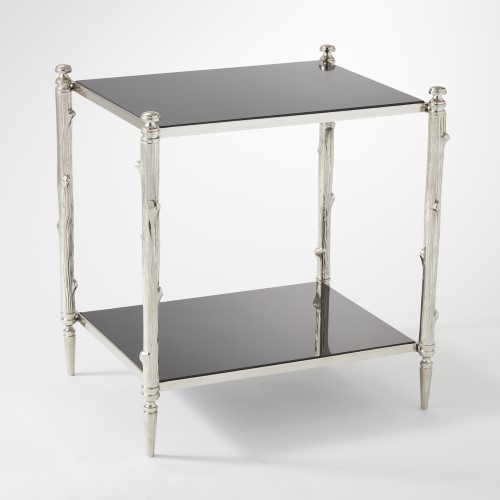 Arbor Side Table-Nickel & Black Granite