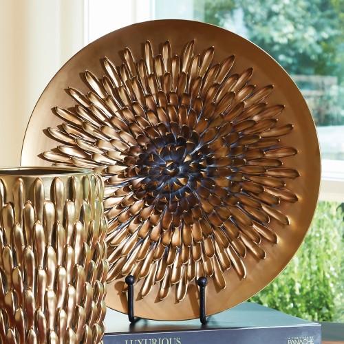 Chrysanthemum Charger-Matte Gold