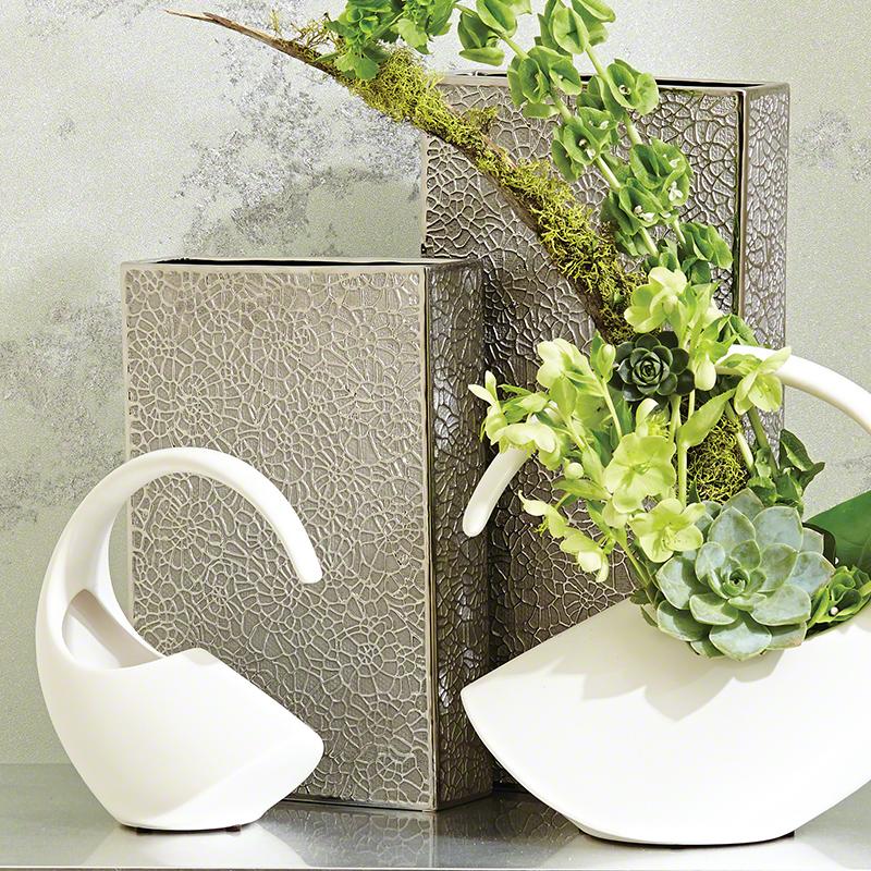 Organic Lace Vase-Silver