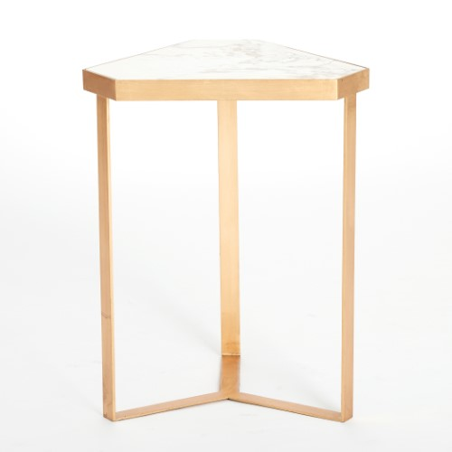 Tri-Hex Table-Gold Leaf-Marble