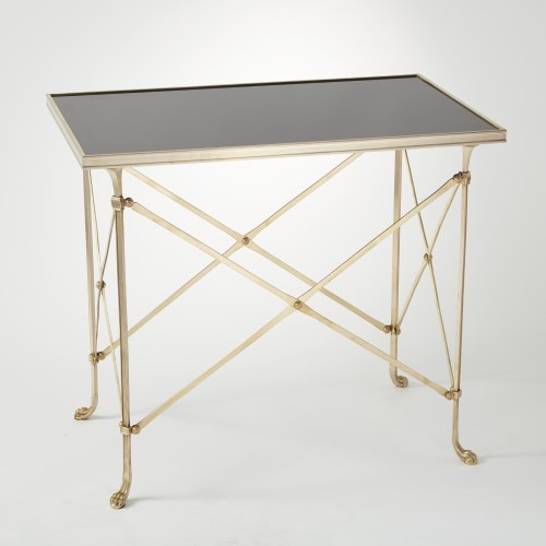 Rectangular Directoire Table-Brass w/Black Granite