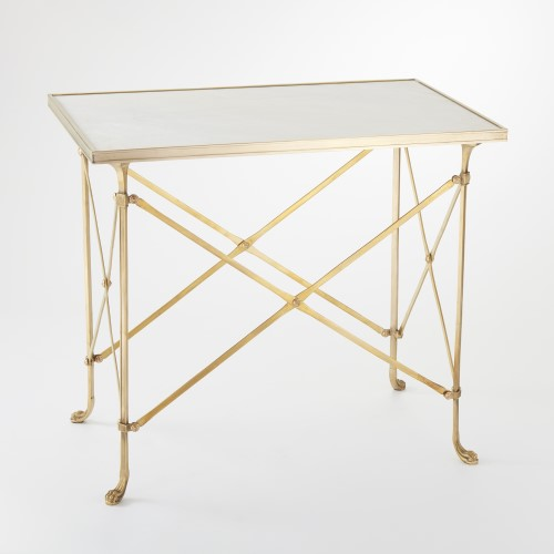 Rectangular Directoire Table-Brass & White Marble
