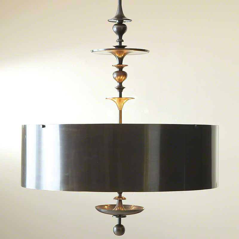 Turned Pendant Chandelier-Antique Bronze Finish