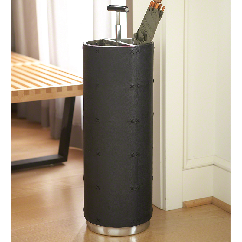 Umbrella Stand-Black Leather