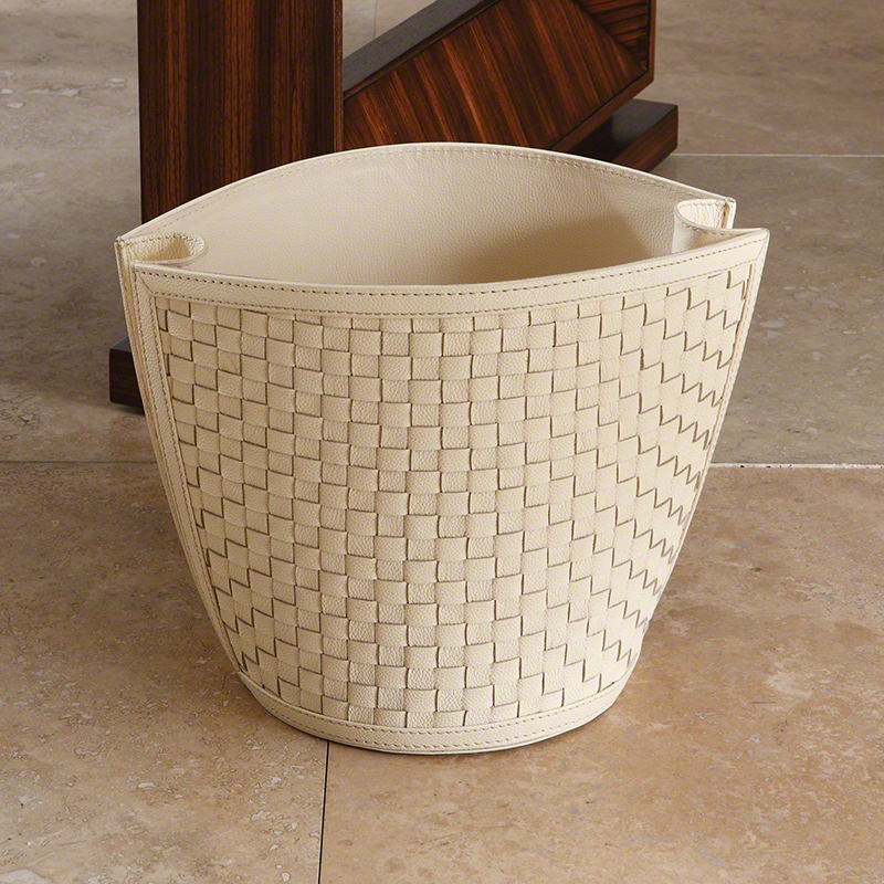 Woven Wastebasket-Ivory