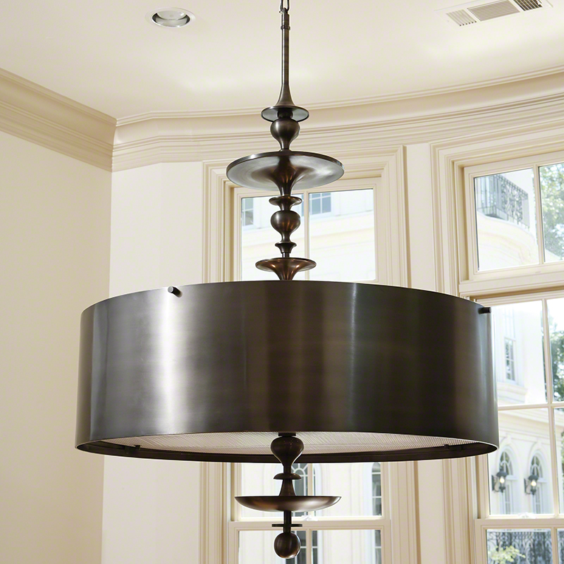 Turned Pendant Chandelier-Antique Bronze Finish-Sm