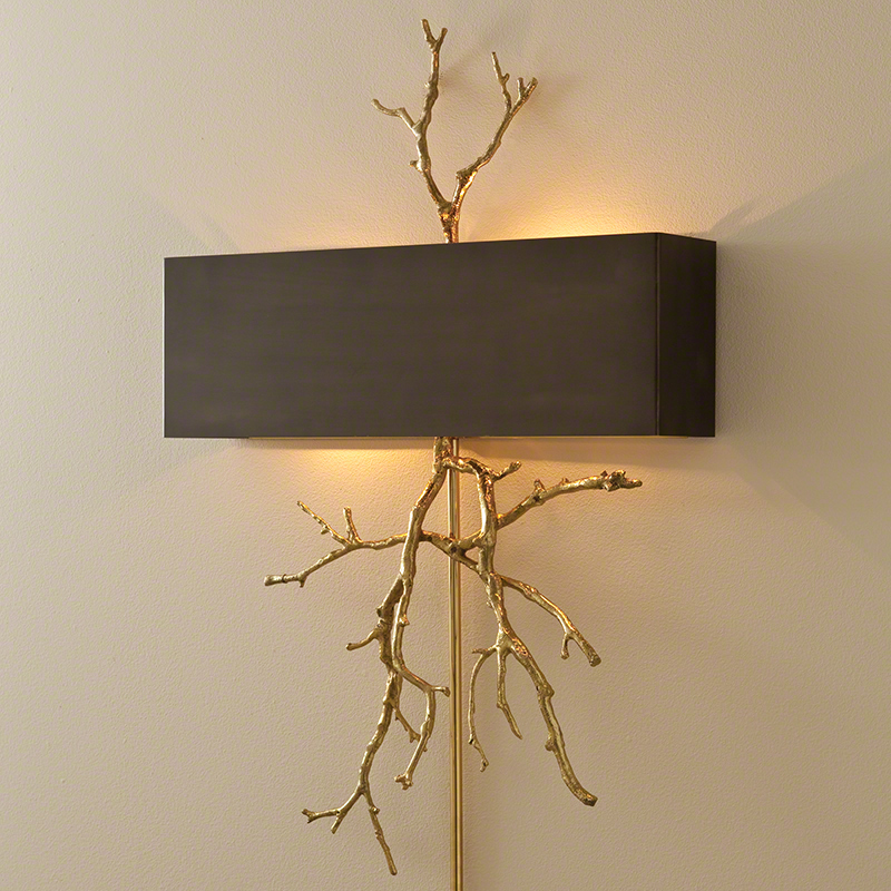 Twig Electrified Wall Sconce-Brass on Brass W/Bronze Shade