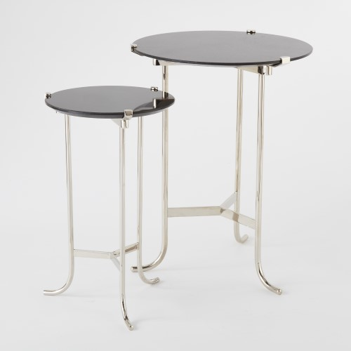 Plié Table-Polished Nickel/Black Granite