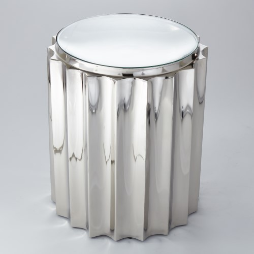 Fluted Column Table-Nickel