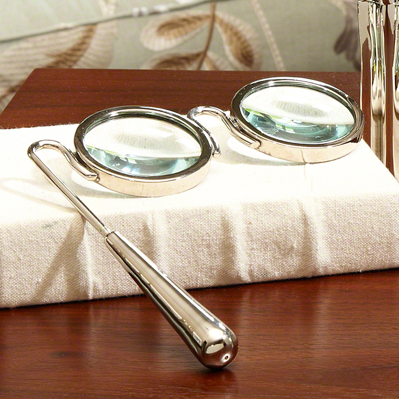 Lorgnette Magnifying Glass-Nickel