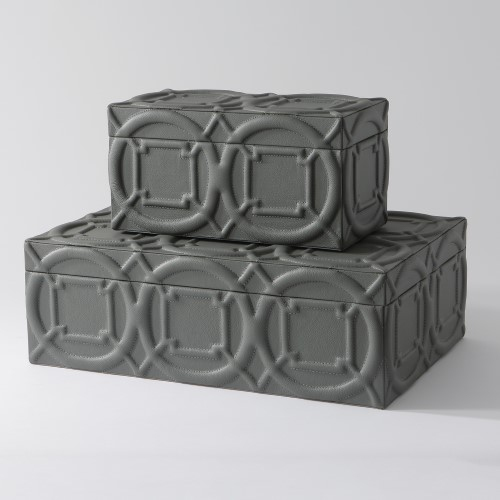 Arabesque Trapunto Box-Grey