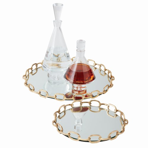 Linked Mirrored Tray-Brass