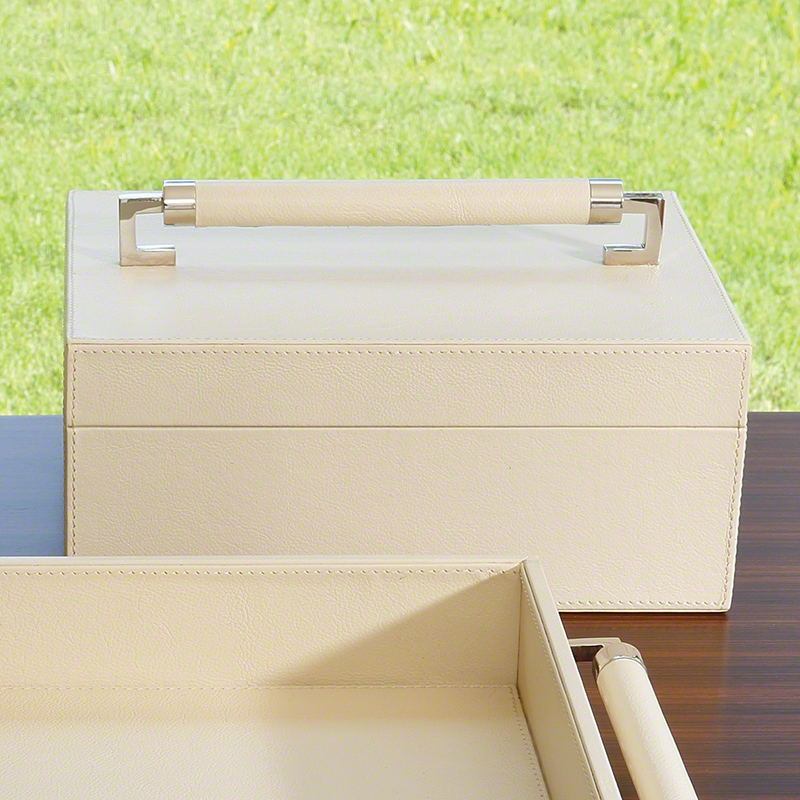 Wrapped Leather Handle Box-Ivory