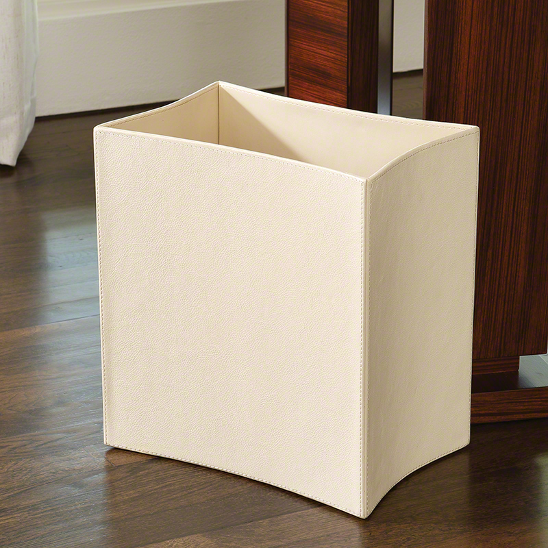 Folded Leather Waste Basket-Ivory
