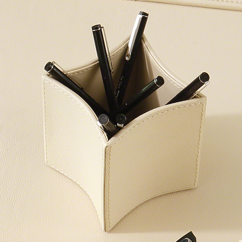 Folded Leather Pencil Cup-Ivory